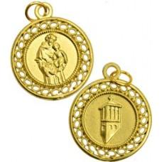 St Anthony gold tone amulet