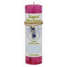 Love Pillar Candle with Fairy Dust Necklace 6 1/2