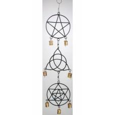 Pentagram, Triquetra, Solomons Seal wind chime 5