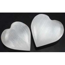 White Selenite heart  1 1/4