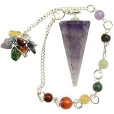 Amethyst 7 Chakra 6 sided pendulum