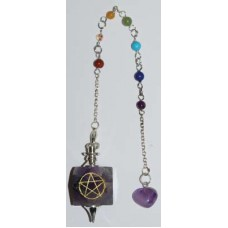 Amethyst 7 Chakra Pentagram pendulum
