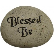 Blessed Be engraved stone pebble 2 3/4