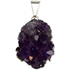 Amethyst Cluster pewter pendant