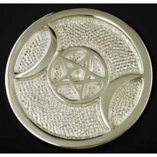 Silver Plated Triple Moon altar tile 3 1/2